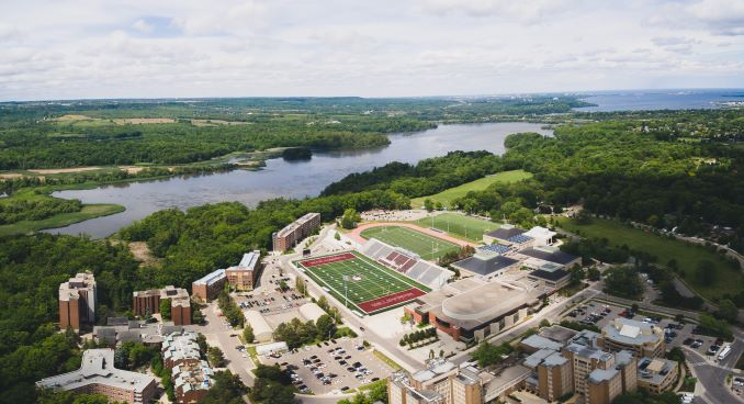A drone shot of the campus and surrounding area