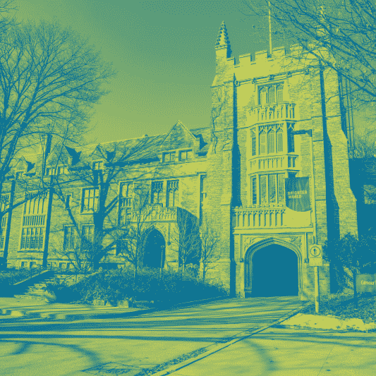 A blue green duotone image of University Hall on campus