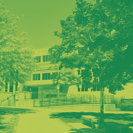 A green yellow duotone image of the art gallery on campus