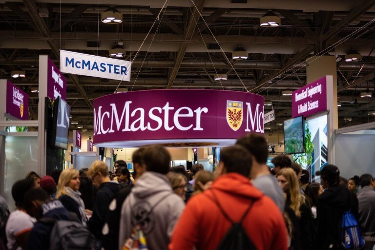 The McMaster booth at the Ontario Universities Fair