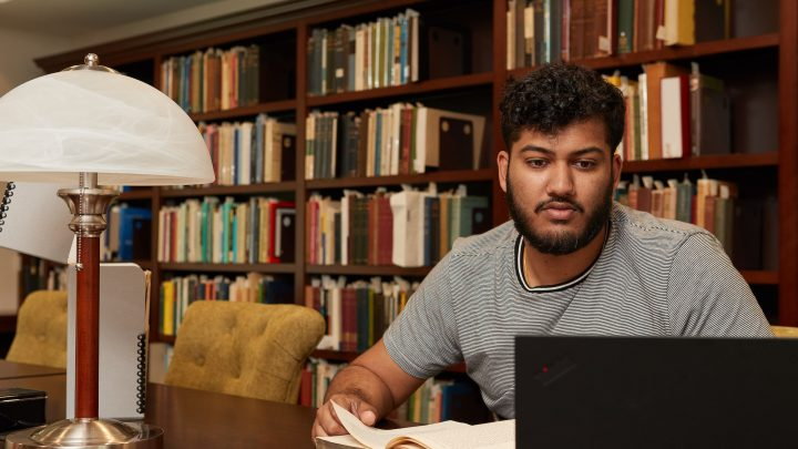 A student studying in a library