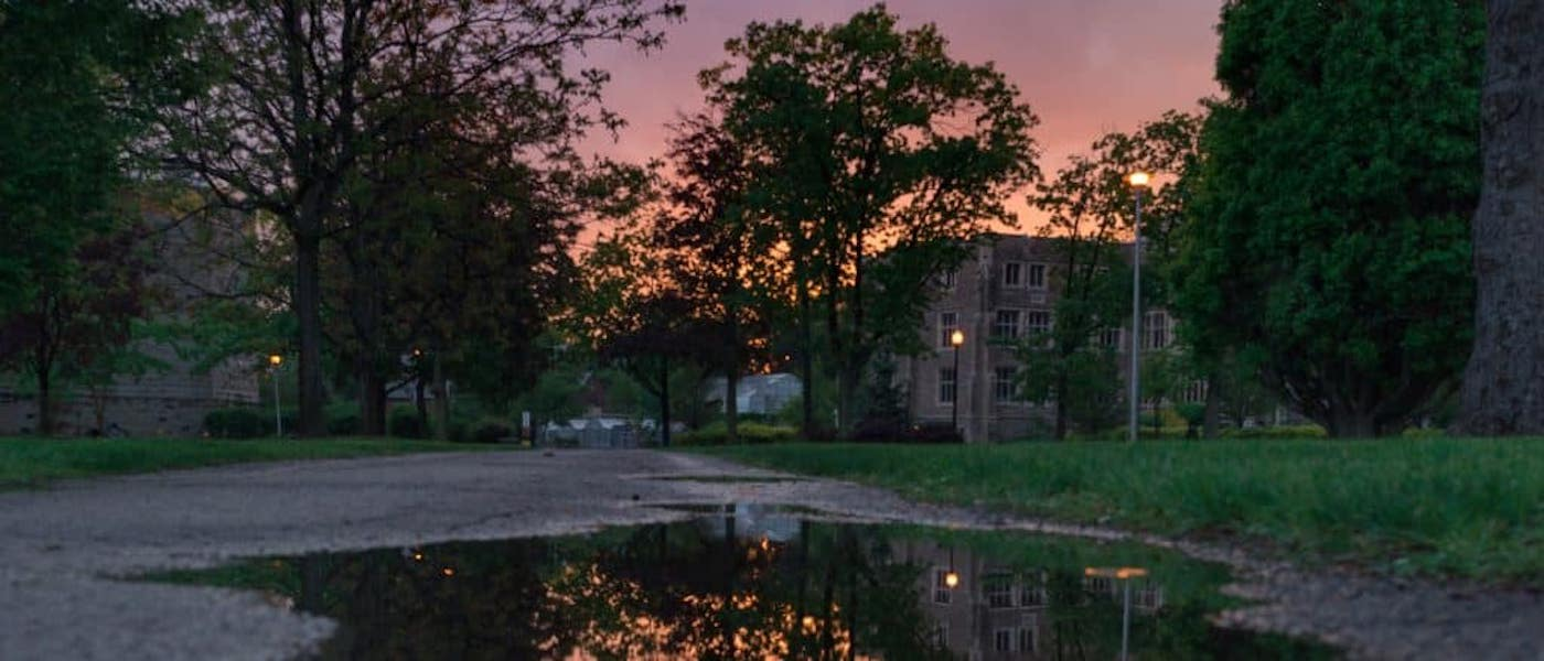A scenic shot of campus during a pink and purple sunset