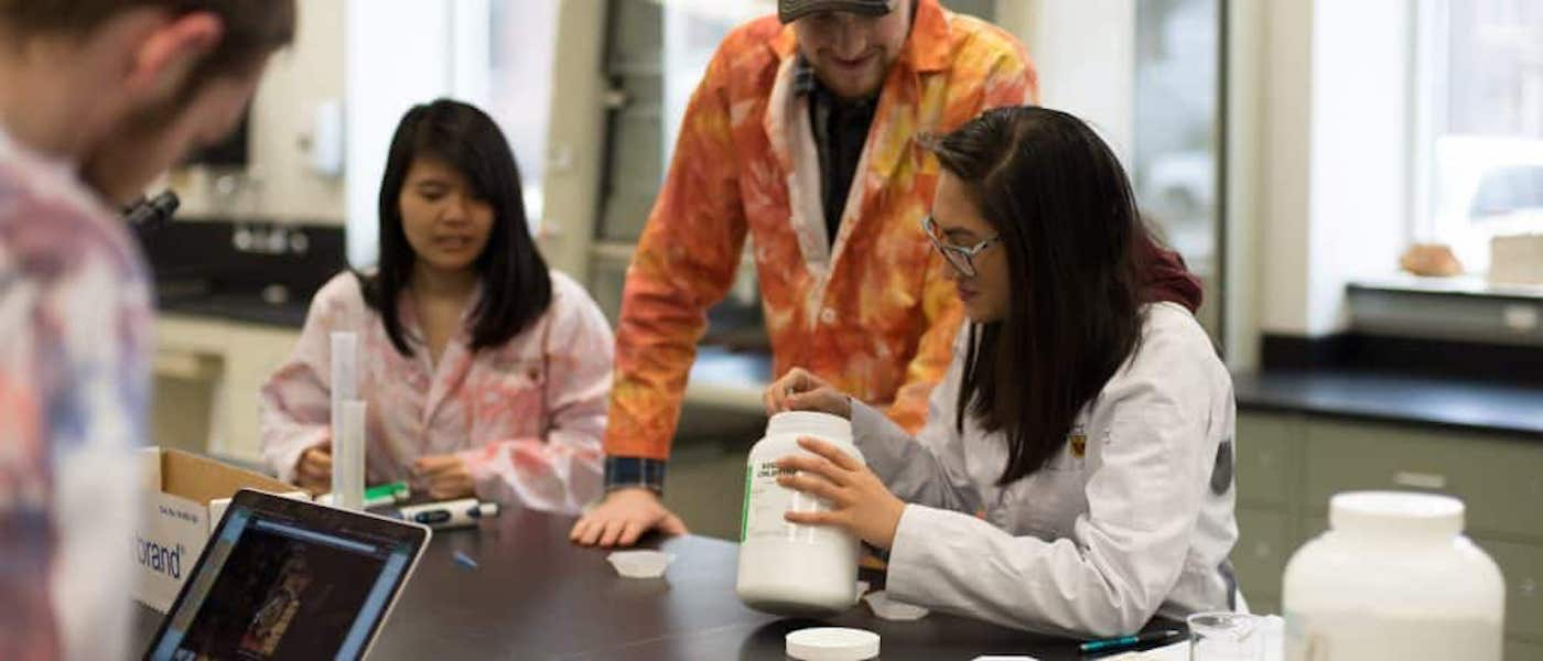 A group of students working in a lab