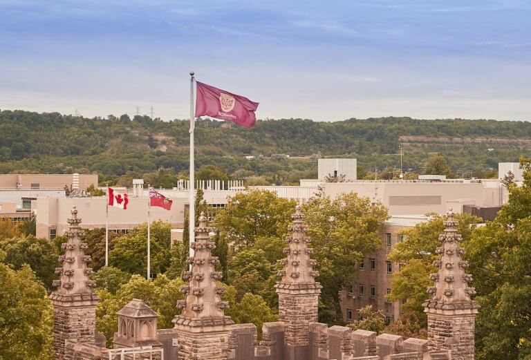 A drone shot of the McMaster flag mounted atop University Hall on campus