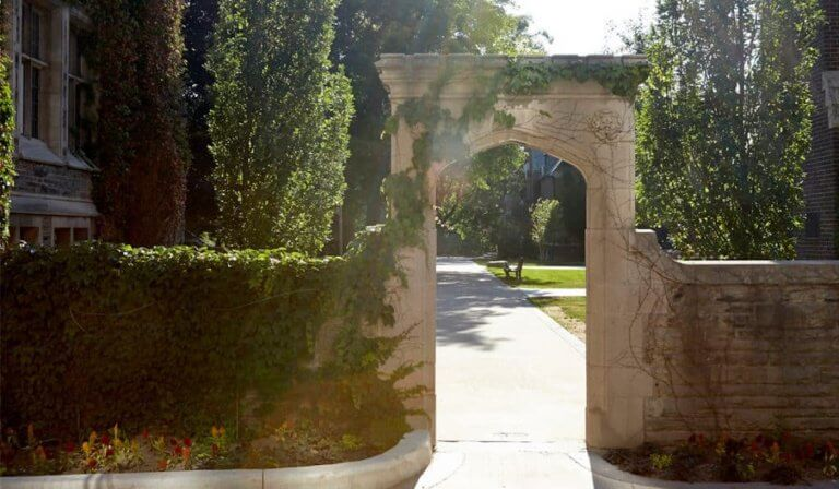 A scenic shot of the McMaster archway on campus