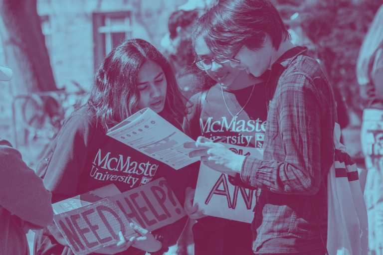 A blue green duotone image of a campus visitor asking a McMaster student holding a