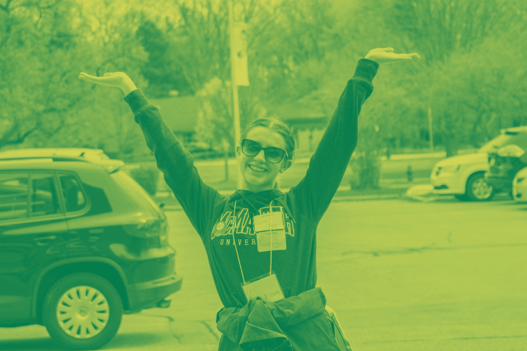 A green yellow duotone image of a student representative from the commerce faculty posing