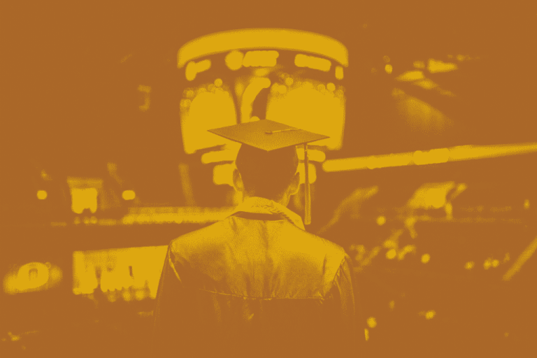 A Maroon and yellow duotone image of a McMaster student wearing a graduation cap and gown