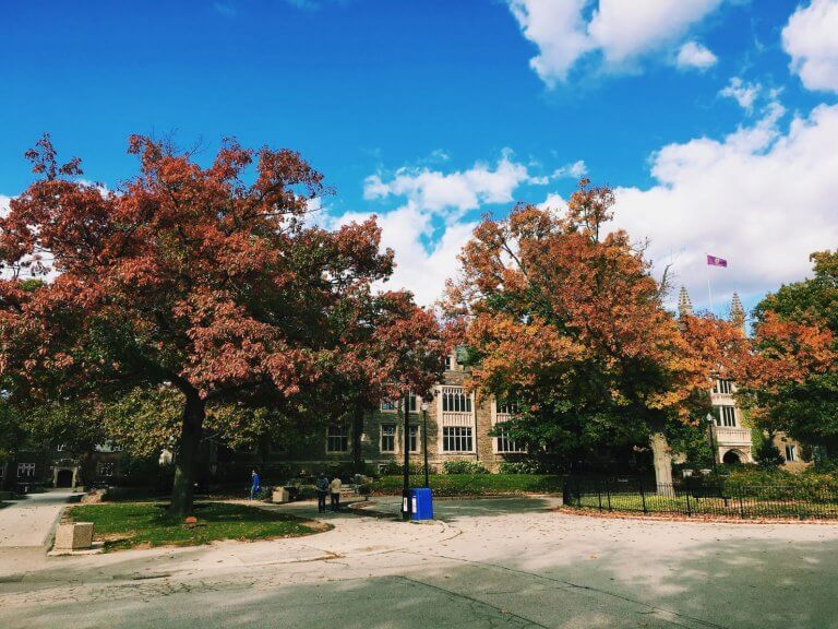 A scenic shot of University Hall at McMaster in the fall