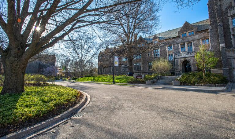 Scenic shot of University Hall at McMaster
