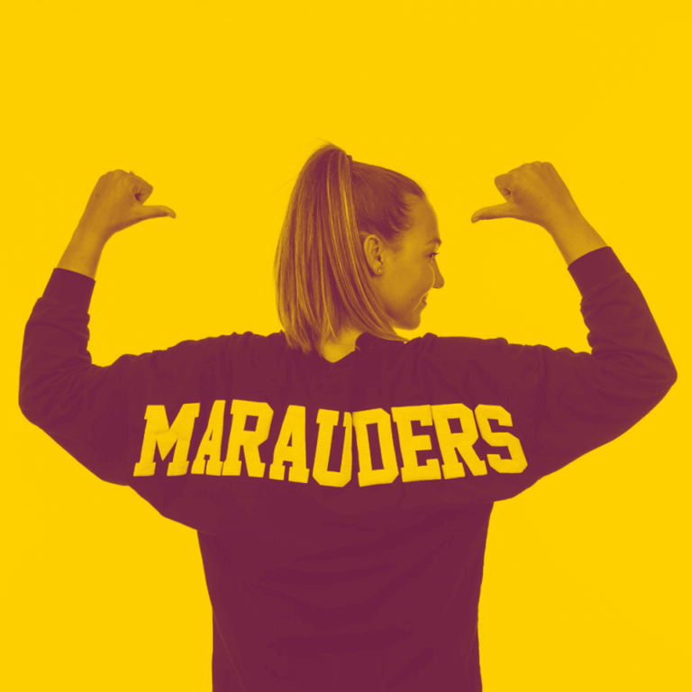 A yellow-maroon duotone image of a McMaster student wearing a long sleeved shirt with the text